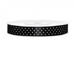 Wstążka w kropki - czarna 12mm