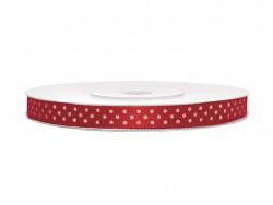 Wstążka w kropki 6mm czerwona w białe kropki
