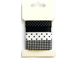 Wstążki ozdobne - czarne i białe 4m
