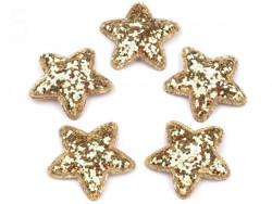 Aplikacje gwiazdki z brokatem złote