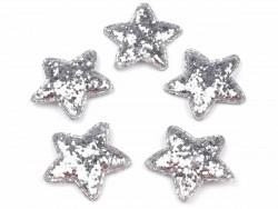 Aplikacje gwiazdki z brokatem srebrne