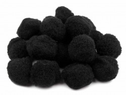 Pompony czarne 25mm - 10szt