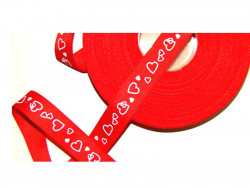 Czerwona Rypsowa Tasiemka - wzór serduszka