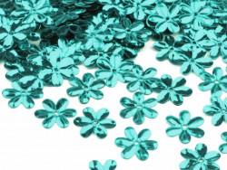 Cekiny kwiatki 15mm turkusowe