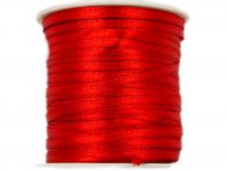 Wstążka satynowa 3mm rolka - czerwona