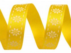 Tasiemka rypsowa 15mm kwiatki żółta