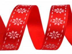Tasiemka rypsowa 15mm kwiatki czerwona