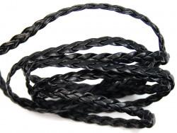 Rzemyk warkocz 7mm czarny