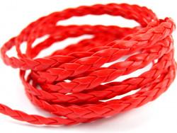 Rzemyk warkocz 7mm czerwony