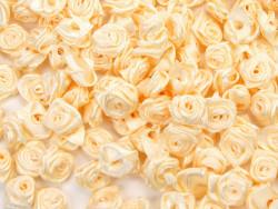 Atłasowe różyczki - 5szt. kremowy