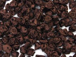 Atłasowe różyczki - 5szt. brązowe