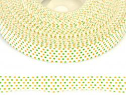 Tasiemka bawełniana w kropki zielone i pomarańczowe 15mm