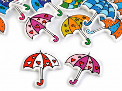 Guziki drewniane parasolki