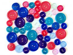 Guziki plastikowe - bajkowe, turkusowe, malinowe, chabrowe, fioletowe