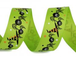 Tasiemka rypsowa 25mm pająki zielone