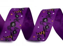 Tasiemka rypsowa 25mm pająki fioletowe