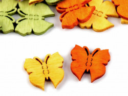 Motylki drewniane 19x20mm mix kolorów