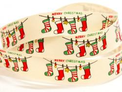 Tasiemka bawełniana 15mm skarpety Boże Narodzenie