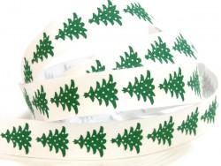 Tasiemka bawełniana 15mm choinki Boże Narodzenie