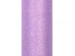 Tiul z brokatem fioletowy jasny 15x25cm