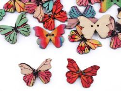 Guziki drewniane motylki witraż