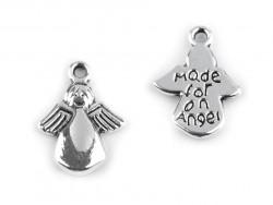 Zawieszka metalowa aniołek z napisem