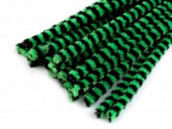 Druty kreatywne w paski zielone-czarne 10szt