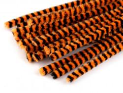Druty kreatywne w paski pomarańczowe-czarne 10szt