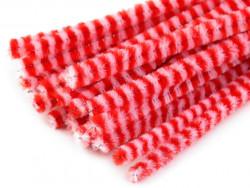 Druty kreatywne w paski białe-czerwone 10szt