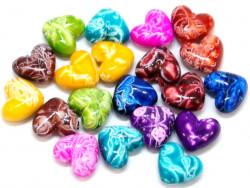 Koraliki serca 17x15mm mix kolorów 20szt