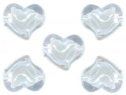 Koraliki serca 35x28mm białe