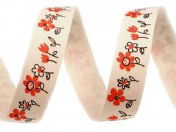 Tasiemka bawełniana 15mm kwiatki czerwone