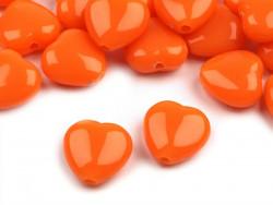 Koraliki serduszka 13mm pomarańczowe
