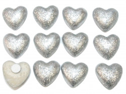 Drewniane serca brokatowe srebrne z przylepcem 12szt
