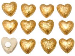 Drewniane serca brokatowe złote z przylepcem 12szt