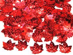 Cekiny liście 21x23mm czerwone
