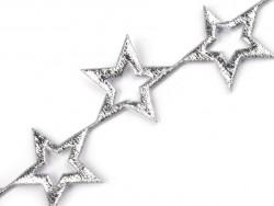 Aplikacje gwiazdki puste 20mm srebrne