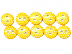 Guziki 10mm w kropki żółte
