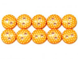 Guziki 10mm w kropki pomarańczowe