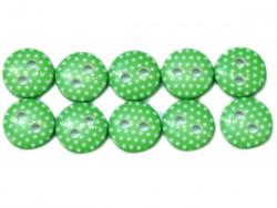 Guziki 10mm w kropki zielone