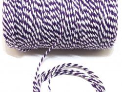 Sznurek bawełniany skręcany 1,5mm fioletowo biały 100m