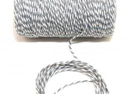Sznurek bawełniany skręcany 1,5mm szaro biały 100m
