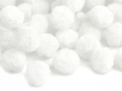 Pomponiki 11mm białe 100szt