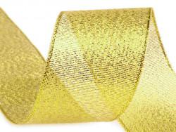 Tasiemka brokatowa 25mm złota 27m
