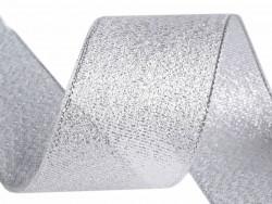 Tasiemka brokatowa 25mm srebrna 27m