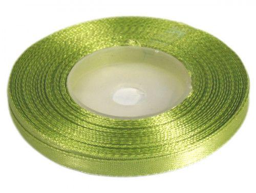 Wstążka satynowa 6mm - zielona oliwkowa jasna