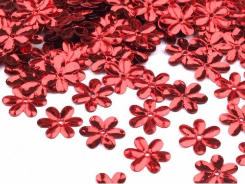 Cekiny kwiatki 15mm czerwone 20g