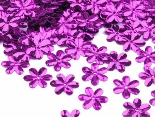Cekiny kwiatki 15mm fioletowe 20g