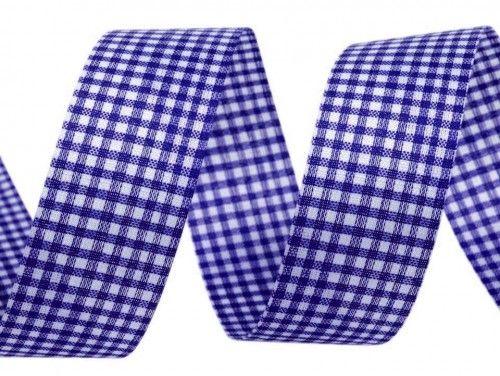 Wstążka w kratkę 15mm niebieska chabrowa