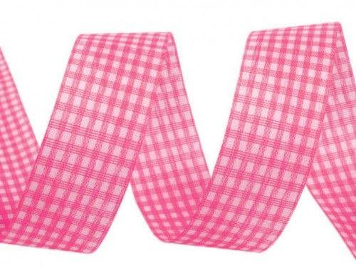 Wstążka w kratkę 15mm różowa jasna